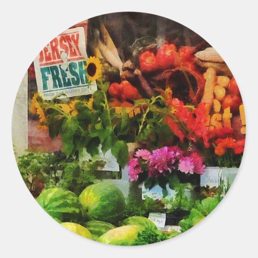 El mercado del granjero pegatina redonda