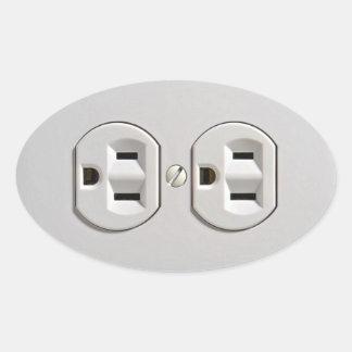 El mercado eléctrico enchufa pegatina ovalada
