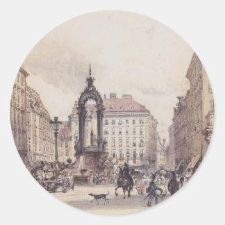 El mercado grande en Viena de Rudolf von Alt Pegatina Redonda