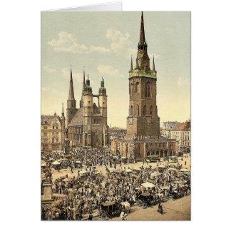 El mercado, Halle, alemán Sajonia, Alemania mA Tarjetón