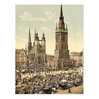 El mercado, Halle, alemán Sajonia, Alemania mA Tarjeta Postal