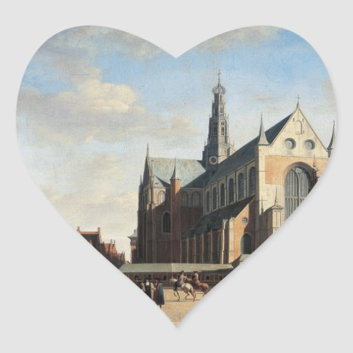 El mercado magnífico en Haarlem Pegatina Corazón Personalizadas