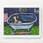 El merle azul del pastor australiano toma el baño tapetes de raton