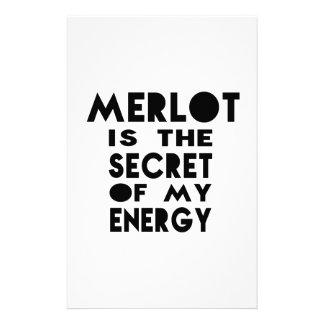 El Merlot es el secreto de mi energía Personalized Stationery