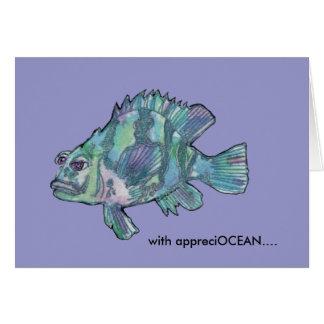 El mero de los pescados del dibujo animado de Appr Tarjeta De Felicitación
