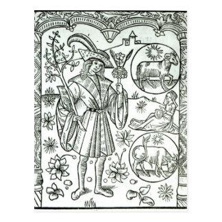 El mes de abril con el sol astrológico firma postales