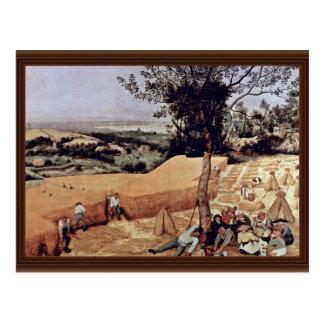 El mes de la cosecha de grano agosto por Bruege Postal