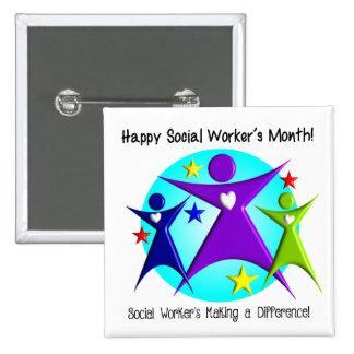 El mes del asistente social feliz diferencia pin cuadrado