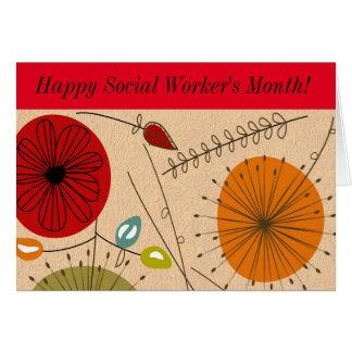 El mes del asistente social feliz floral tarjeta de felicitación