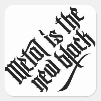 El metal es el nuevo negro No.1 (el negro) Calcomanía Cuadradas