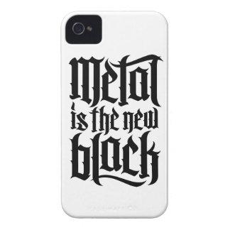 El metal es el nuevo negro No 2 el negro Case-Mate iPhone 4 Protectores