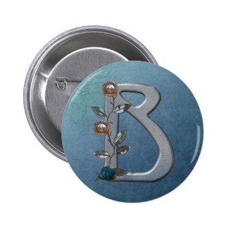 El metal florece el monograma B Pin