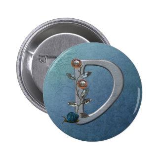 El metal florece el monograma D Pin