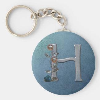 El metal florece el monograma H Llavero Personalizado