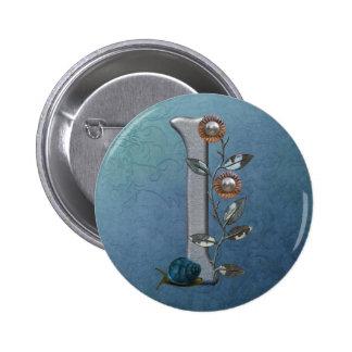 El metal florece el monograma I Pin