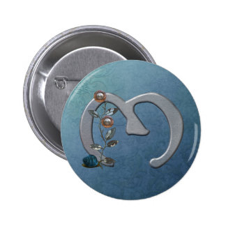 El metal florece el monograma M Pin