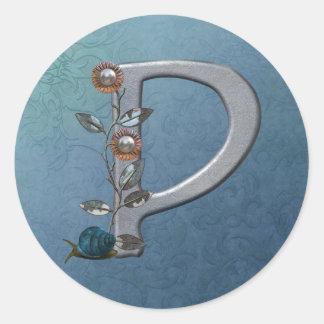 El metal florece el monograma P Pegatina Redonda