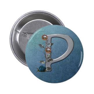 El metal florece el monograma P Pin