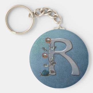 El metal florece el monograma R Llaveros