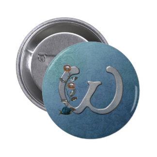 El metal florece el monograma W Pin