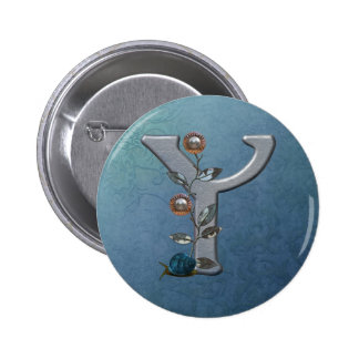 El metal florece el monograma Y Pins
