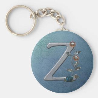 El metal florece el monograma Z Llavero Personalizado