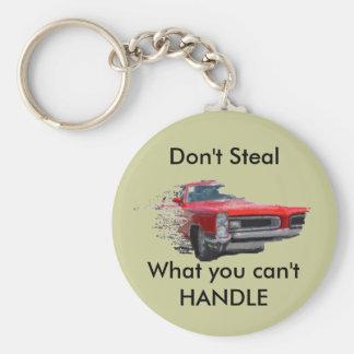 el metal pesado, no roba, llavero redondo tipo pin