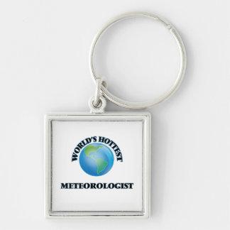 El meteorólogo más caliente del mundo llavero cuadrado plateado