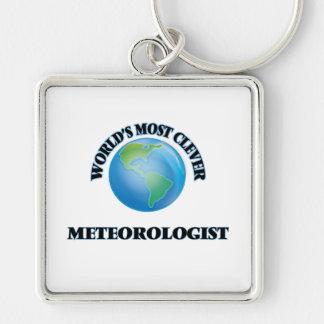 El meteorólogo más listo del mundo llavero cuadrado plateado