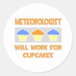 El meteorólogo… trabajará para las magdalenas pegatina redonda