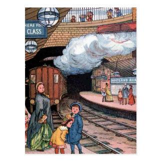 """""""El metro, ejemplo del vintage de Londres"""" Tarjetas Postales"""