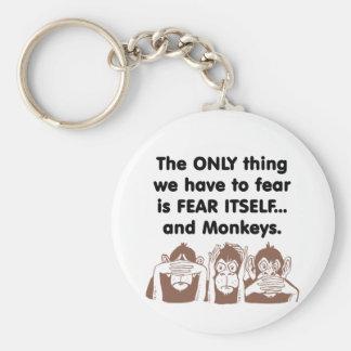 El miedo sí mismo Monkeys Llavero Redondo Tipo Pin