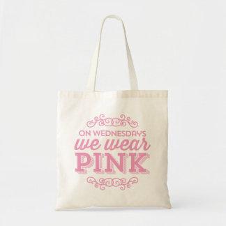 El miércoles llevamos cita divertida rosada bolsas de mano