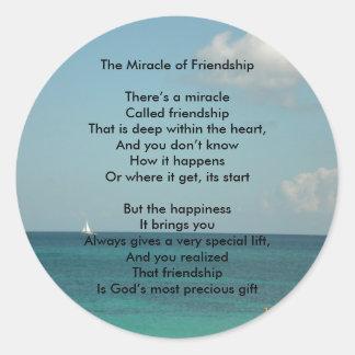 El milagro de la amistad pegatina redonda