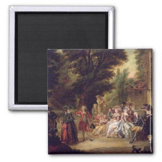El minué debajo del roble, 1787 imán cuadrado