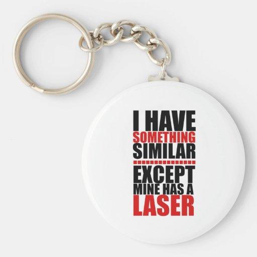 El mío tiene un laser llavero redondo tipo pin