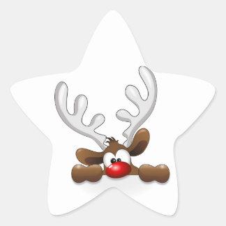 El mirar a escondidas divertido del reno pegatina en forma de estrella