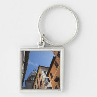 el mirar para arriba los edificios colorido llavero cuadrado plateado