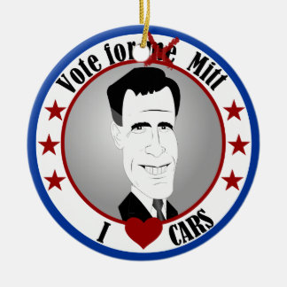 El mitón ama el ornamento de los coches adorno navideño redondo de cerámica