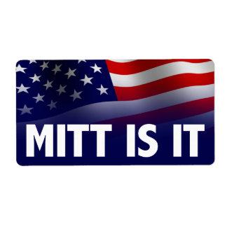 El mitón es él - Romney Ryan 2012 Etiquetas De Envío