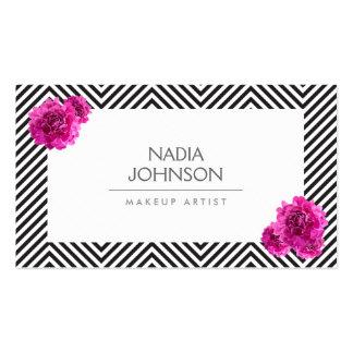 El modelo blanco y negro con rosa florece belleza tarjetas de visita