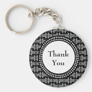 El modelo blanco y negro de Tiki le agradece Llavero Redondo Tipo Pin