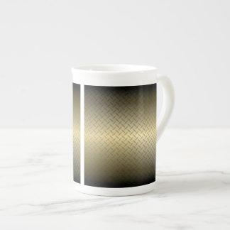 El modelo de Diamondplate con negro al oro se Taza De Porcelana