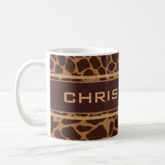 El modelo de la impresión de la piel de la jirafa taza de café
