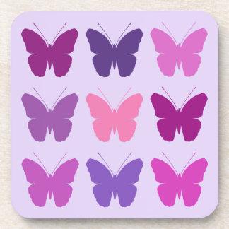 El modelo de la mariposa 3x3 pica colores de malva posavasos
