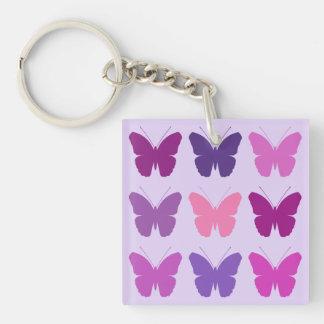 El modelo de la mariposa 3x3 pica la lila de las llavero cuadrado acrílico a doble cara