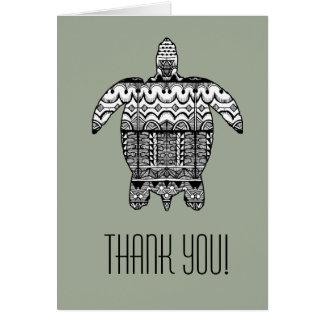El modelo de la tortuga de mar le agradece cardar tarjeta de felicitación