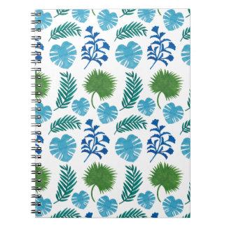 El modelo de las hojas de palma libro de apuntes con espiral