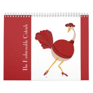 El modelo de moda de la avestruz calendarios de pared