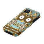 El modelo de zigzag lindo del Moorish del búho eli iPhone 4/4S Fundas